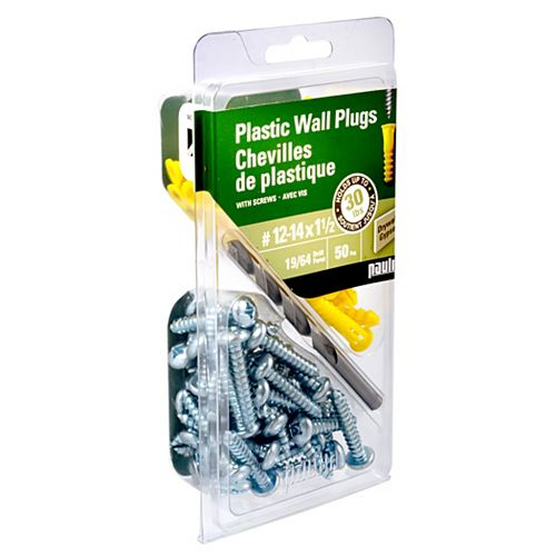 No. 12-14 x 1 1/2-inch Plastic Anchors with Screws (50-Pack)