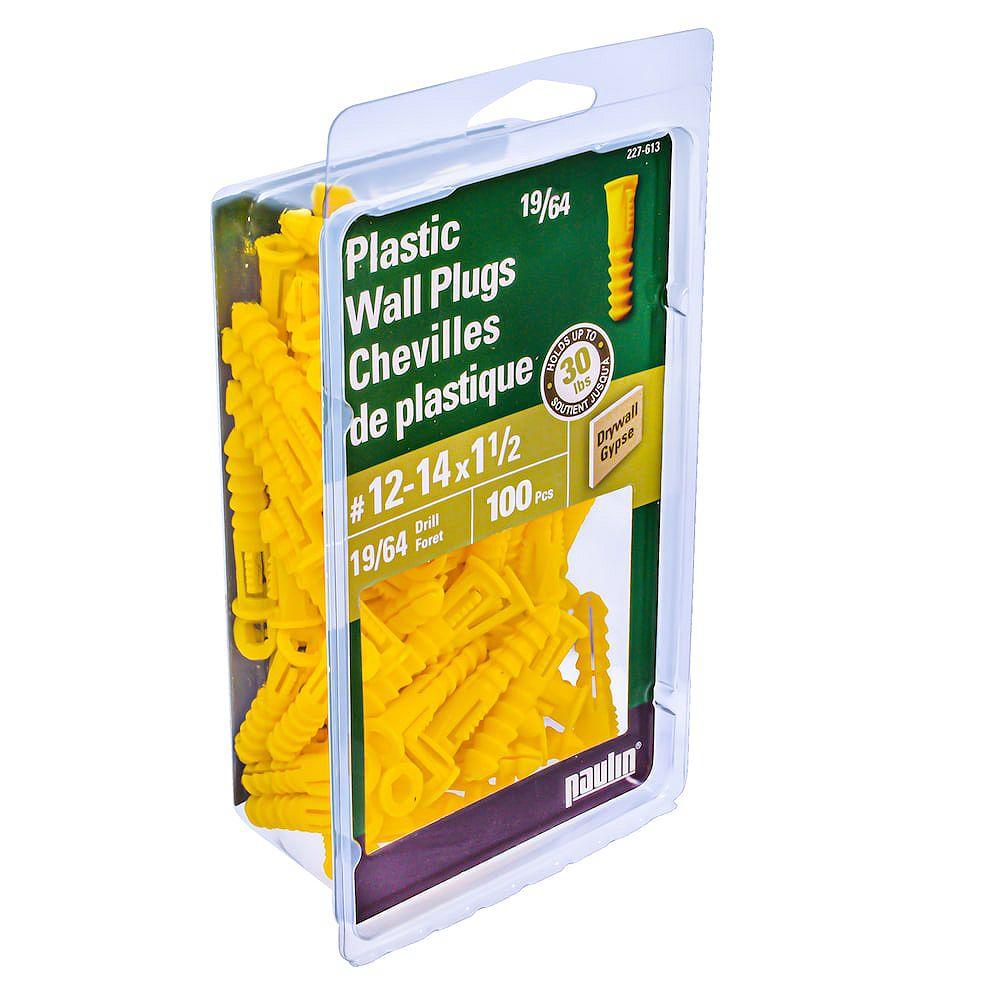 Paulin No. 12-14 x 1-1/2-inch Yellow Plastic Hollow Wall Anchor