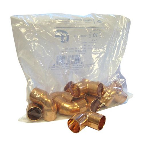 Fitting Copper 90 Degree Elbow 3/4 Inch Copper To Copper (10-Pack)