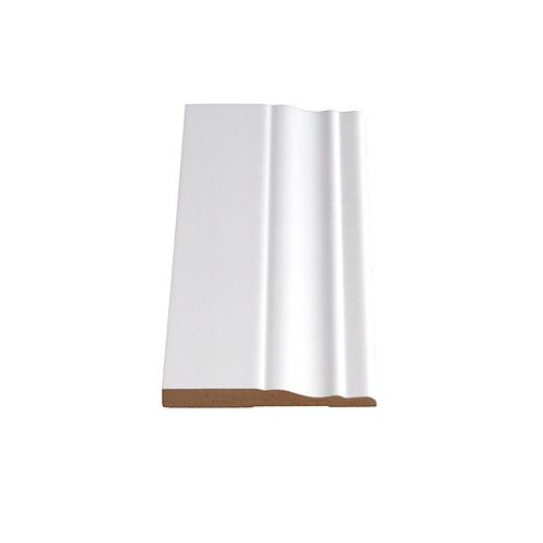3/8-inch x 3 1/4-inch Colonial MDF Primed Fibreboard Baseboard Moulding