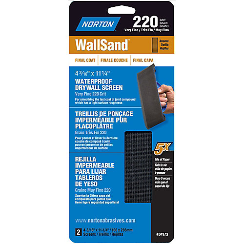 Treillis de ponçage pour cloison sèche WallSand 4-3/16 pix11-1/4 pi Grain Très Fin-220 Emb de 2
