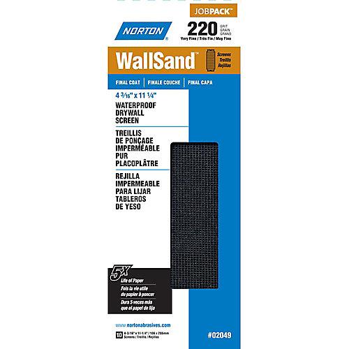Treillis de ponçage pour cloison sèche WallSand 4-3/16 pix11-1/4 pi Grain Très Fin-220 Emb de 10