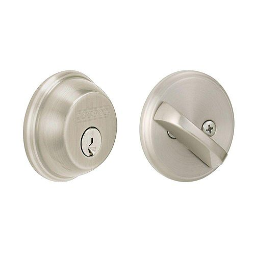 Single Satin Nickel Cylinder Deadbolt
