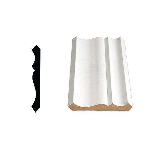 5/8-inch x 4 1/4-inch Colonial LDF Primed Fibreboard Ogee Crown Moulding
