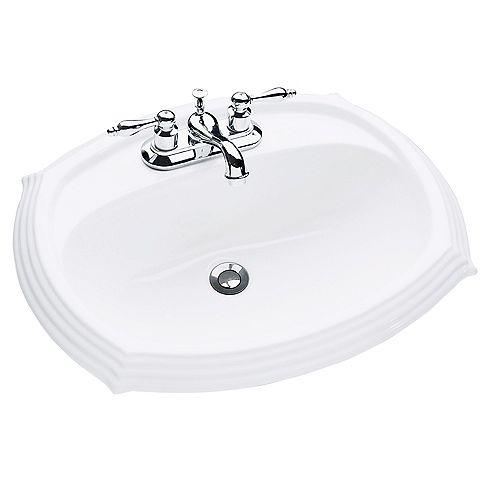 Regent Oval Drop-In Bathroom Sink in White