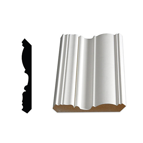 5/8-inch x 4 1/2-inch Victorian LDF Primed Fibreboard Ogee Crown Moulding