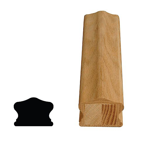 Alexandria Moulding Main courante complète en chêne non fini de 1 5/8 po x 2 1/4 po x 12 pi