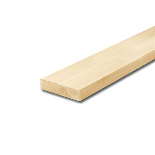 Alexandria Moulding 1 1/16-inch x 4 1/2-inch x 6 ft. Unfinished Maple Modern Handrail