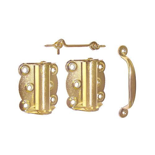 Ideal Security Brass Plated Screen Door Hardware Set