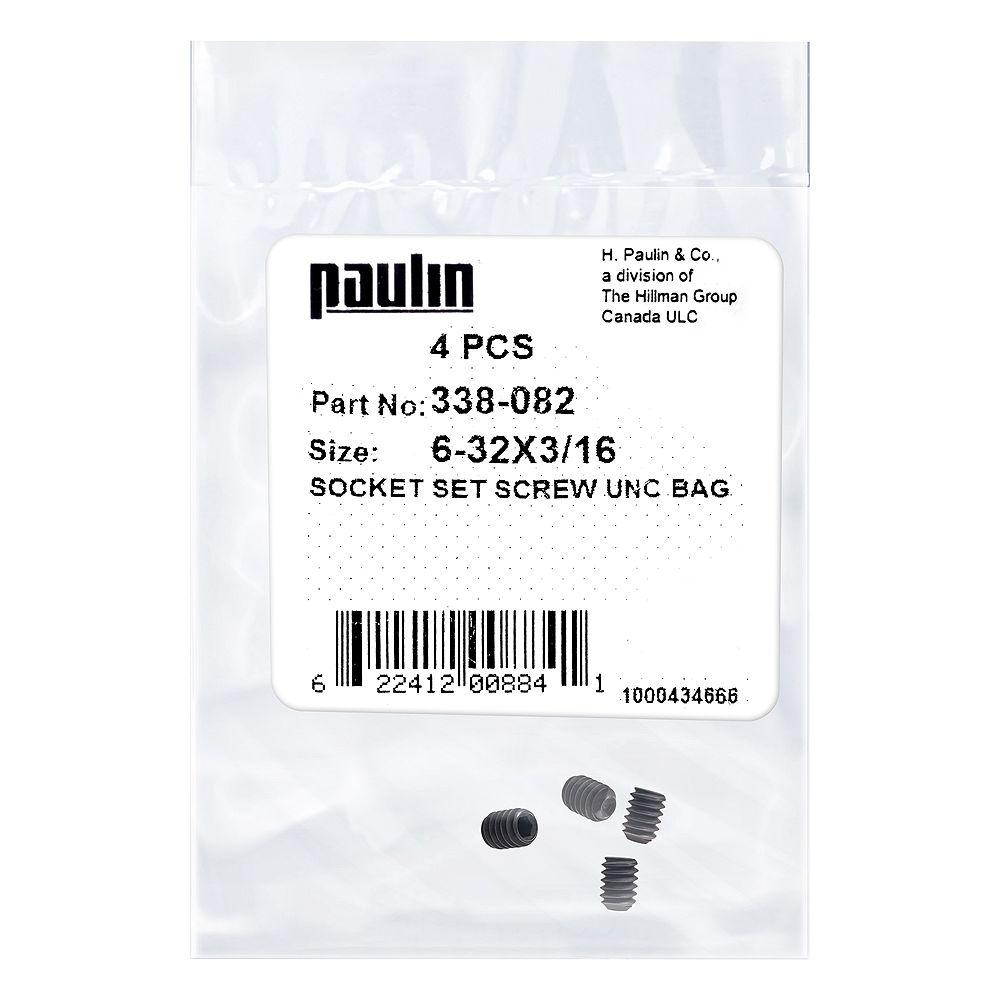 Paulin 6-32 x 3/16-inch Steel Socket Set Screws UNC Phosphate Coated -  4 pcs
