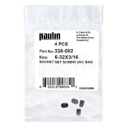 6-32 x 3/16-inch Steel Socket Set Screws UNC Phosphate Coated -  4 pcs