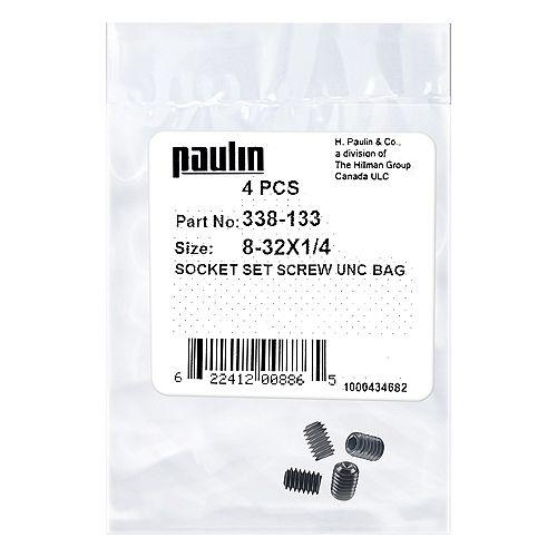 8-32 x 1/4-inch Steel Socket Set Screws UNC Phosphate Coated -  4 pcs