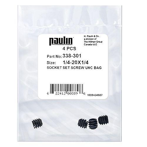 1/4-20 x 1/4-inch Steel Socket Set Screws UNC Phosphate Coated -  4 pcs