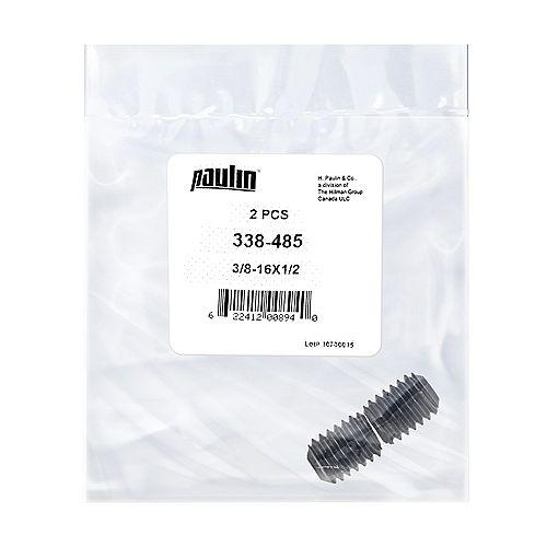 3/8-16 x 1/2-inch Steel Socket Set Screws UNC Phosphate Coated -  2 pcs