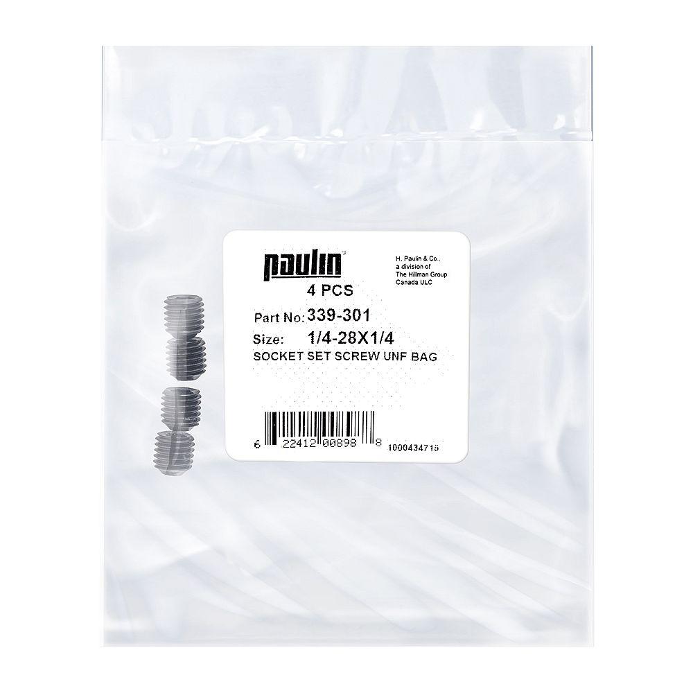 Paulin 1/4-28 x 1/4-inch Steel Socket Set Screws UNF Phosphate Coated -  4 pcs