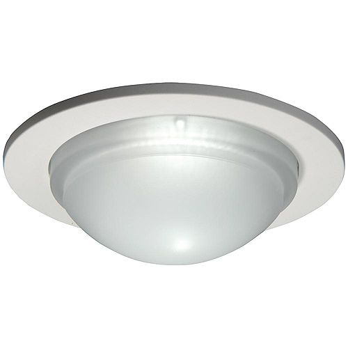 Halo Dome Shower Light with Satin White Trim Ring-5 Inch Aperture