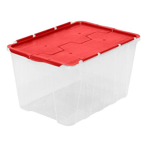 49L Flip-Top Storage Tote in Clear with Red Lid