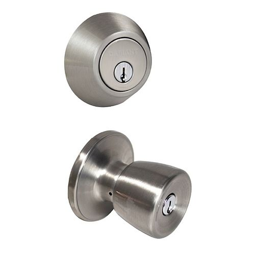 Gallo Stainless Steel Single Cylinder Entry Knob Door Combo Pack