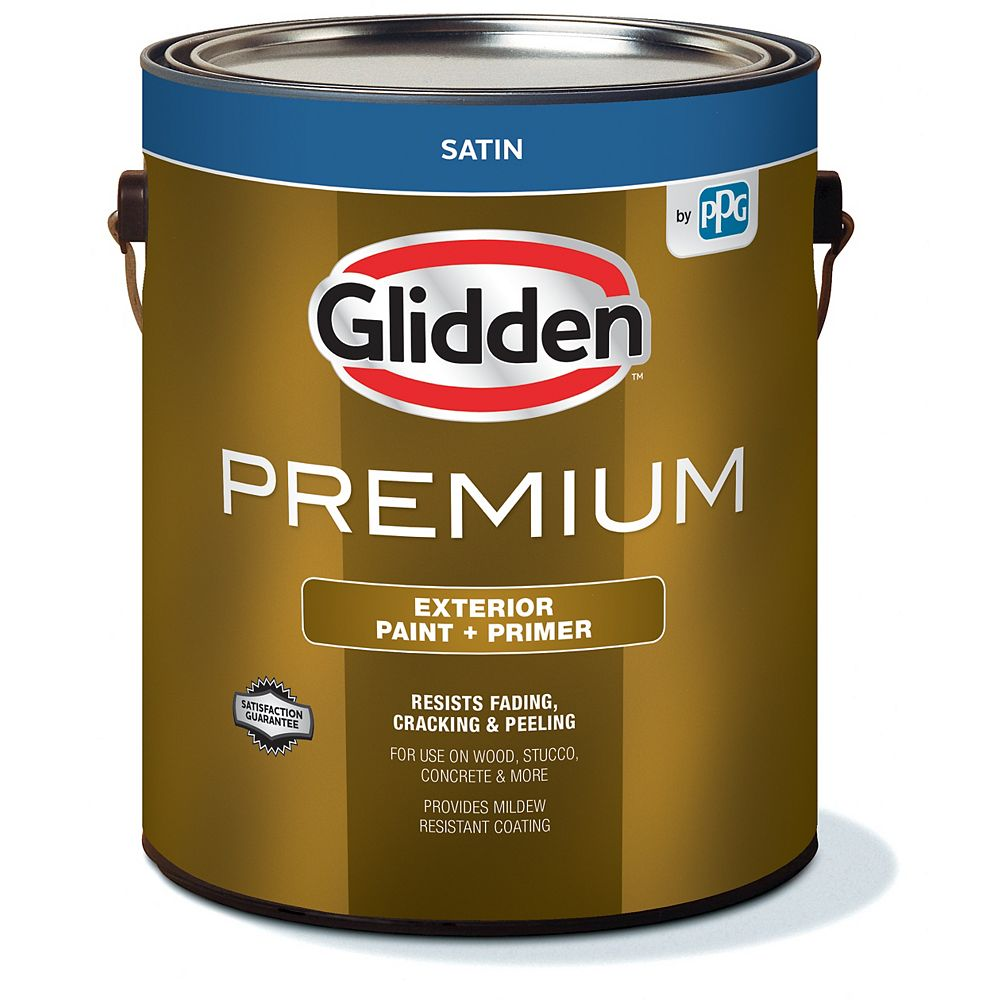 Glidden Premium Exterior Paint + Primer Satin - White 3.7 L