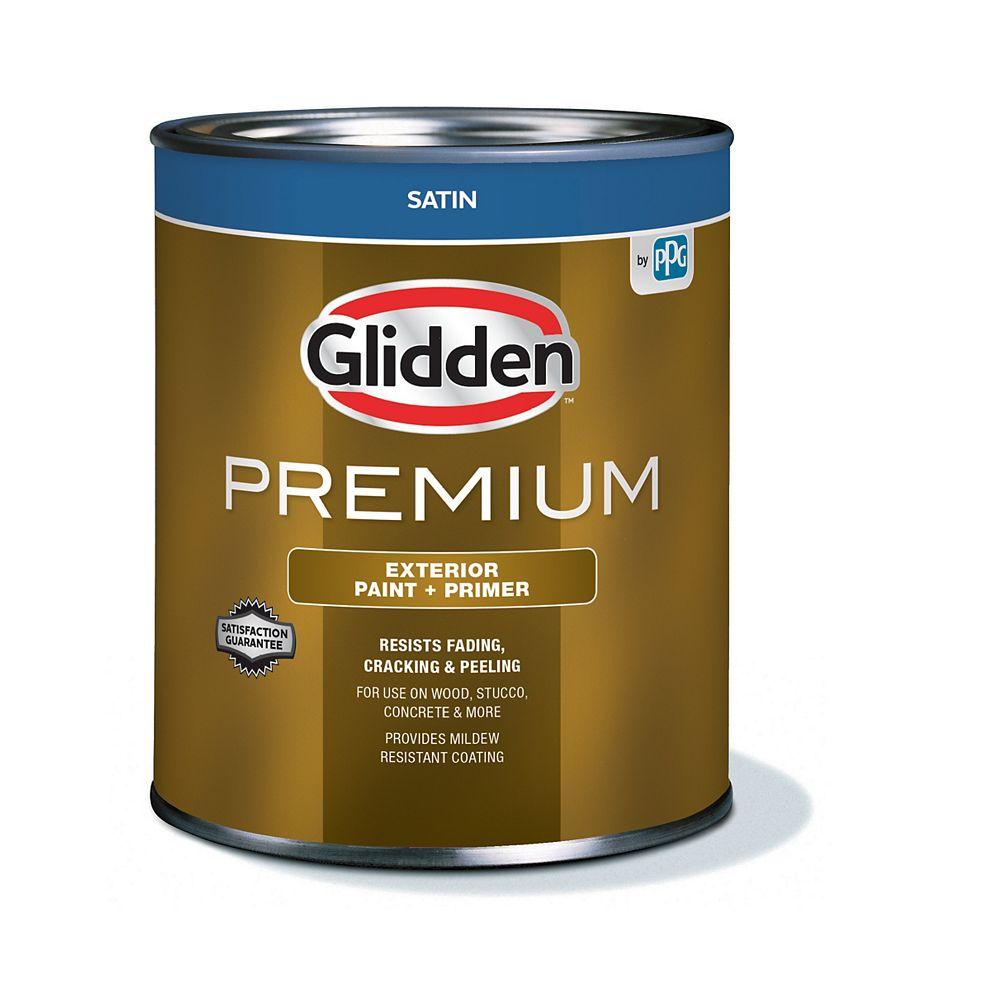 Glidden Premium Exterior Paint + Primer Satin - White 925 mL