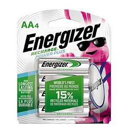 Batteries AA rechargeables Energizer Recharge Plus Rechargeable, 4 Pack