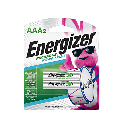 Piles rechargeables AAA Energizer Recharge Power Plus, paquet de 2