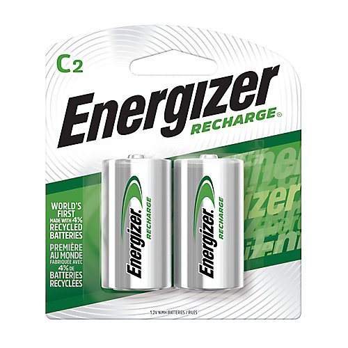 Energizer Recharge Universal Rechargeable C Batteries, 2 Pack