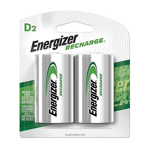 Energizer Energizer Recharge Universal Rechargeable D Batteries, 2 Pack