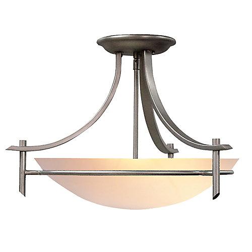 3-Light Brushed Nickel Semi-Flushmount Ceiling Light with Alabaster Glass Shade