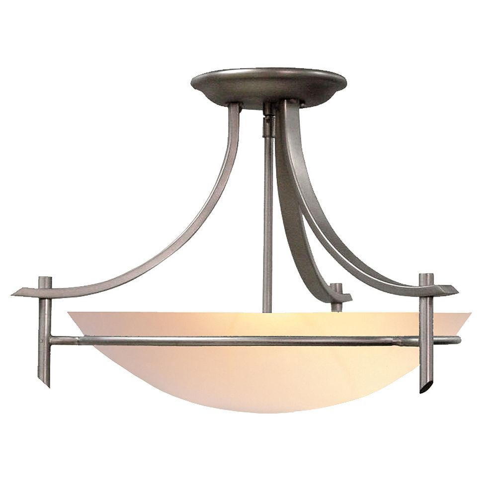 Hampton Bay 3 Light Brushed Nickel Semi Flushmount Ceiling Light With Alabaster Glass Shad The Home Depot Canada