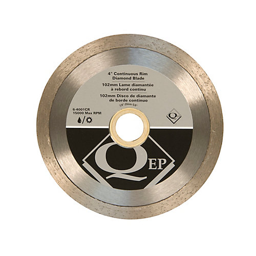 4 in. Diameter Continuous Rim Diamond Tile Saw Blade 7/8-5/8 in. Arbor for Wet/Dry Cutting