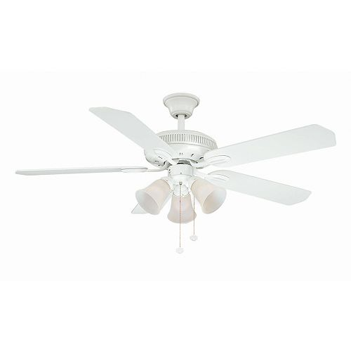 Glendale 52-inch Indoor White Ceiling Fan with Light Kit