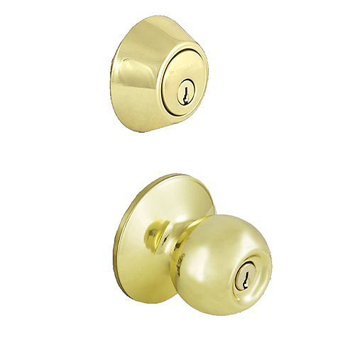Defiant Saturn Satin Polished Brass Cylinder Entry Knob Door Combo Pack