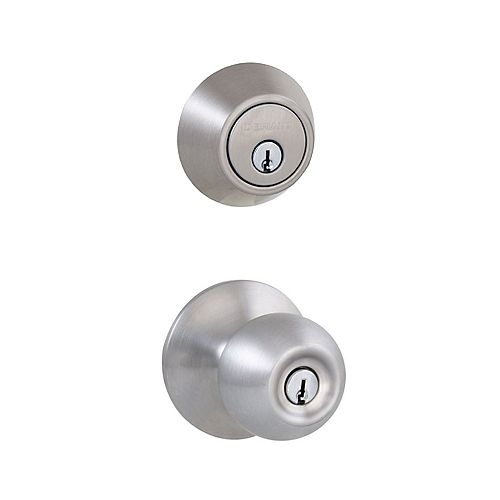 Defiant Saturn Satin Nickel Single Cylinder Entry Knob Door Combo Pack