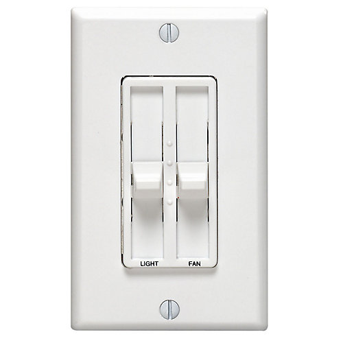 Decora Dual Quiet Fan Speed Control 1.5A and Dimmer Single Pole, White