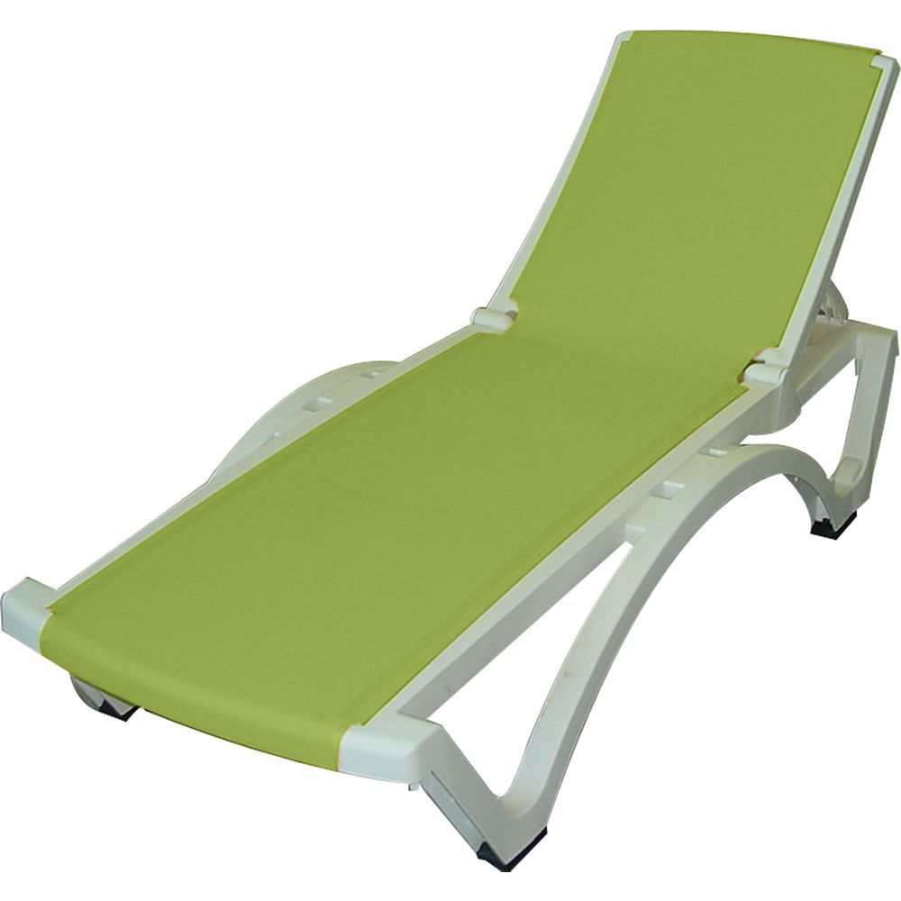 Gracious Living Outdoor Baja Lounge in White/Apple Green