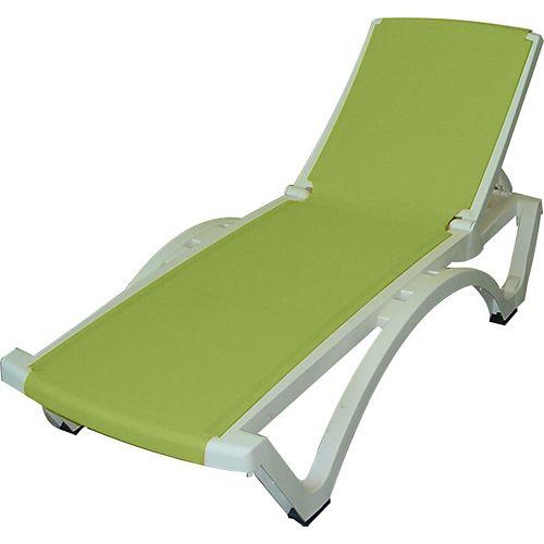Outdoor Baja Lounge in White/Apple Green