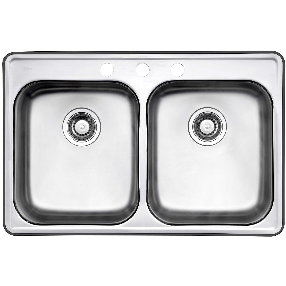 Wessan 32-inch 3-Hole Drop-In Double Bowl Kitchen Sink in Stainless Steel