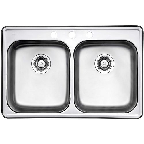 32-inch 3-Hole Drop-In Double Bowl Kitchen Sink in Stainless Steel
