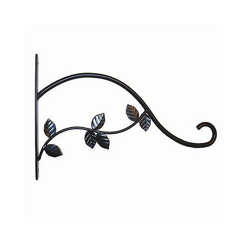 15-inch Leaves Plant Bracket in Black