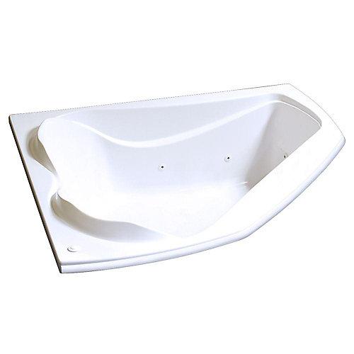 Velvet 5 Feet Acrylic Corner Drop-in Whirlpool Bathtub in White