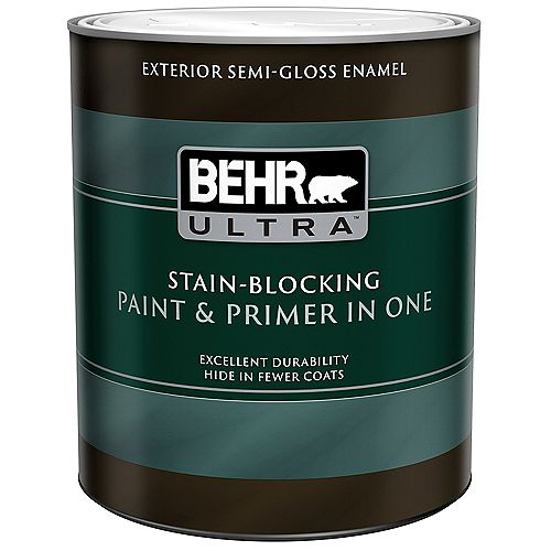 BEHR ULTRA Exterior Semi-Gloss Enamel Paint & Primer in One - Ultra Pure White, 946ML