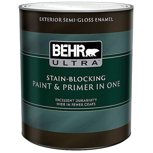 BEHR ULTRA ULTRA Peinture et apprêt en un extérieur émail semi-brillant - Blanc ultra pur, 946 ml