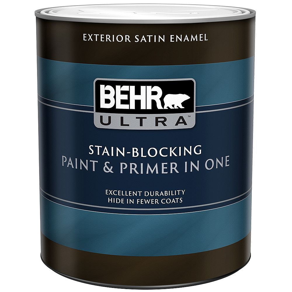 BEHR ULTRA Exterior Satin Enamel Paint & Primer in One - Ultra Pure White, 946ML