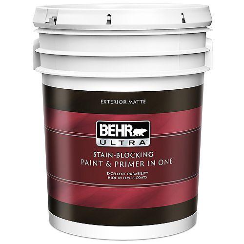 ULTRA Peinture et apprêt en un extérieur fini mat - Blanc ultra pur, 18,9 L