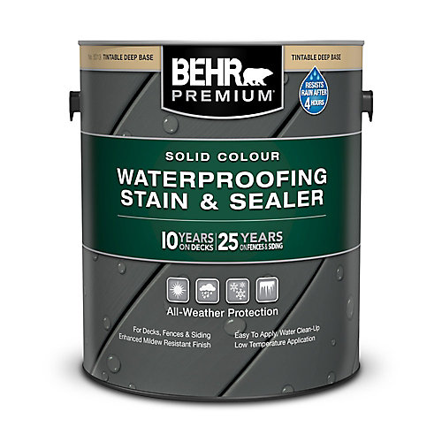 PREMIUM Solid Colour Weatherproofing Stain & Sealer - Deep Base No. 5013, 3.79 L