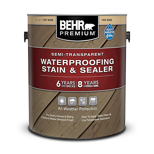 Premium Semi-Transparent Weatherproofing Wood Stain, Tint Base, 3.55 L