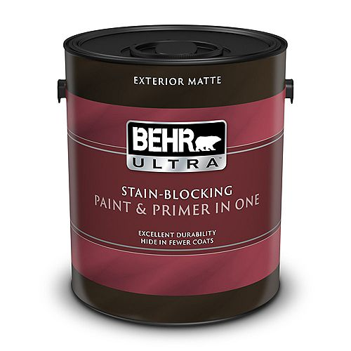 BEHR ULTRA Exterior Matte Paint & Primer in One - Ultra Pure White, 3.79L