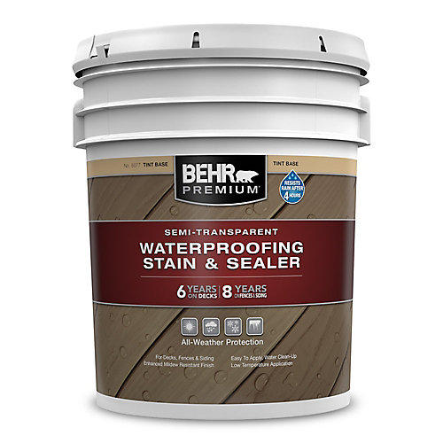Premium Semi-Transparent Weatherproofing Wood Stain, Tint Base, 17.7 L
