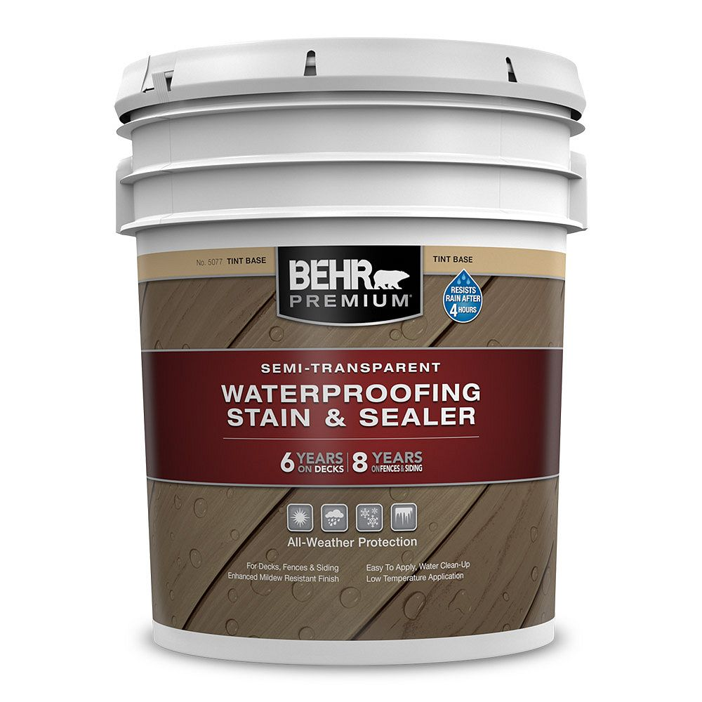 Behr Premium Semi-Transparent Waterproofing Stain & Sealer - Tint Base No. 5077, 18.9L